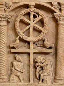 Symbol of the resurrection of Christ from a Fourth Century Roman sarcophagus.