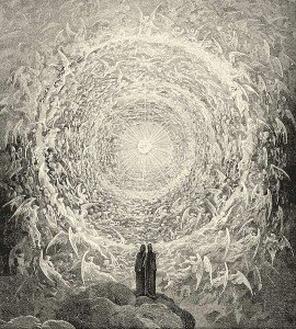 Dante and Beatrice gaze upon the highest heaven. Gustave Doré. Public Domain, Wikimedia Commons