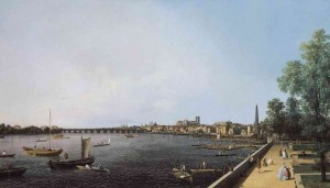 Giovanni Antonio Canal, called Canaletto, London: The Thames from Somerset House Terrace towards Westminster, c. 1750. Royal Collection Trust/c Her Majesty Queen Elizabeth II 2013 used with permission. All rights reserved.