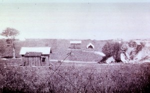 Major Walter Reed constructed two huts (arrows) - one contaminated with fomites, the other clean but filled with mosquitos - to determine how yellow fever was transmitted. Credit: National Library of Medicine
