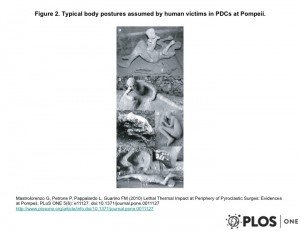 Slide showing various poses of casts found in Pompeii. Used with permission of Pier Paolo Petrone