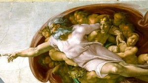 God Image from The Creation of Adam by Michaelangelo. Public Domain, Wikimedia Commons