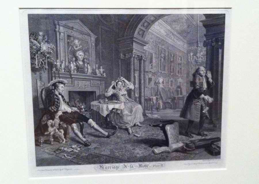 Bernard Baron, based on an oil painting by William Hogarth, Marriage-à-la-mode, Plate II, The Tête à Tête, 1745. Image by Frances Spiegel with permission from The Queen's Gallery. All rights reserved.