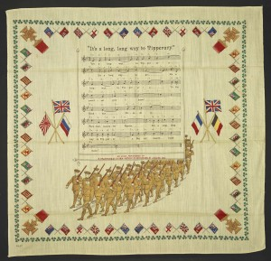 'It's a Long, Long way to Tipperary' handkerchief on display in Enduring War, 1914-1916. Image Courtesy British Library. Used with permission. All rights reserved.