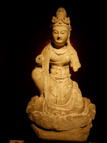 Figure of a bodhisattva in the Shanghai Museum. Buddhism first reached China via the Silk Road. Photo credit: Paris Franz