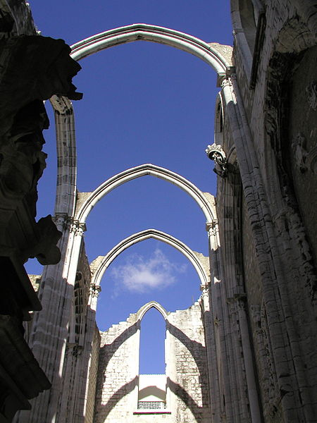 The Convento do Carmo was destroyed by the 1755 Lisbon earthquake. Lisbon's reconstruction was the beginning of earthquake engineering. Image by Chris Adams. CC BY-SA 3.0