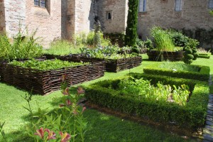 Medieval herb- and flower garden in old abbey, France.