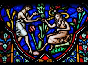 Adam and Eve in the Garden of Eden - stained glass