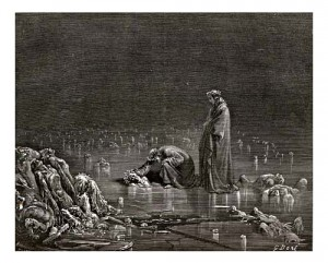 In Dantes Inferno, traitors occupy the 9th level of Hell, closest to the center. Paul Gustave Doré (1832-1883) depicted Dante visiting with traitors trapped in ice.