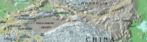 A map shows the Tarim Basin in northwestern China. Image courtesy of the United States CIA.