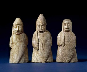 The Lewis Chessmen, berserkers.  Copyright of The Trustees of the British Museum. Used with permission.
