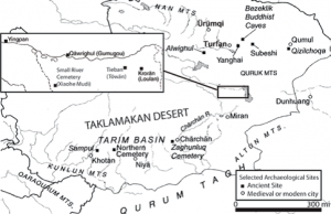 Map of the Tarim Basin (Picture Credit: used with permission of Professor Victor H Mair)