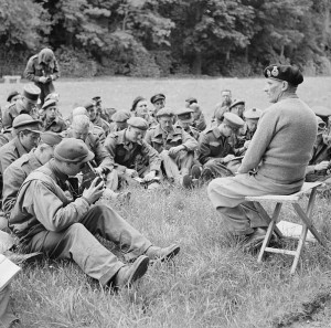 While James impersonated Montgomery in the Mediterranean, the real General Montgomery carried on in his role as ground commander for the D-Day invasion of Normandy. Here, he addresses war correspondents. Image by Morris (Sgt), No 5 Army Film & Photographic Unit.