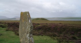 Maeshowe viewed from the Ring of Brodgar Orkney World Heritage site. Photo credit Val Williamson PhD.