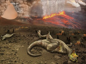 Flood basalt eruptions are associated with major extinctions. Image credit: National Science Foundation.