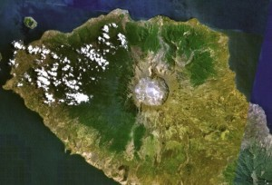 Indonesia's Mount Tambora produced the largest volcanic eruption of historic time. Image: NASA